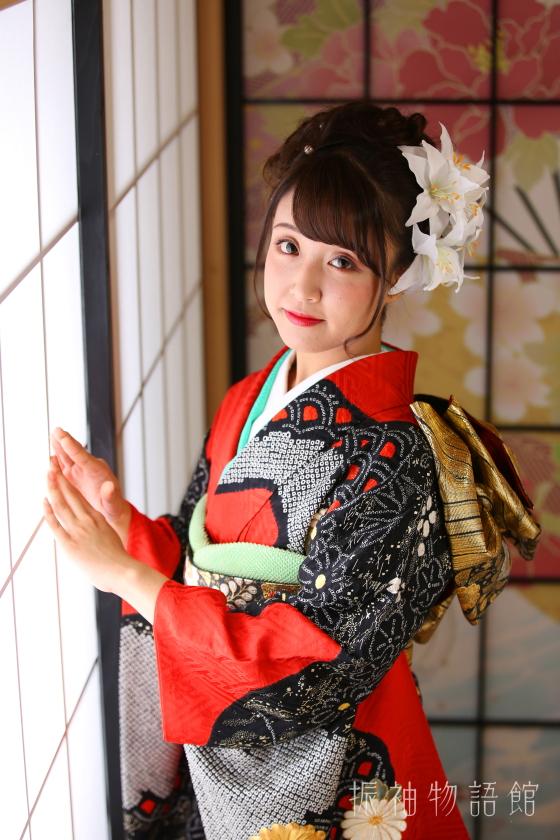 振袖物語館松戸店の成人レンタルプランの撮影です。